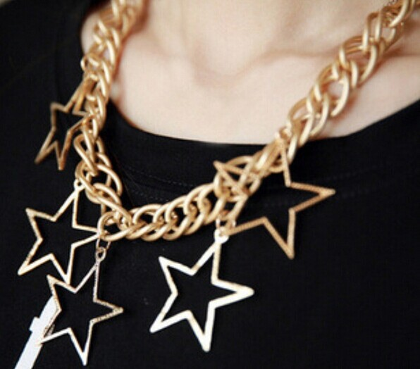 Pentagram pendant big chunky gold chain necklace/kpop steampunk rock hip hop jewelry women/jewelery/jewellery/bijouterie/colares(China (Mainland))