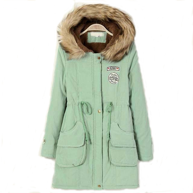 UK 2015 Autumn Winter Parka Women Fur Hooded Down Jacket Thick Warm Coat Mint / Army green Blue Black Red Pink Plus size S-4XL(China (Mainland))