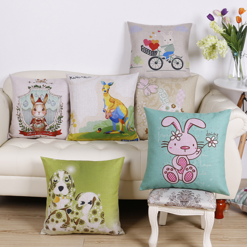 45cm Blue Cartoon Rabbit Fashion Cotton Linen Fabric Throw Pillow Hot Sale 18 Inch New Home Decor Sofa Car Cushion Office Nap FR