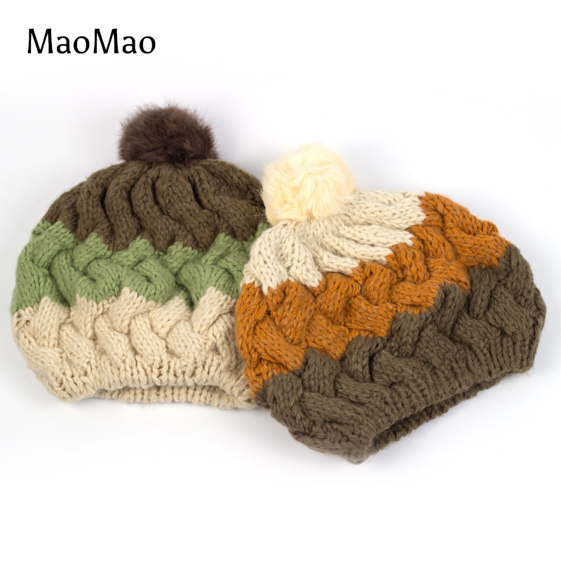 2016 gorros Child Cap Crochet Hat Rabbit Fur Spring Winter Coarse Wool bonnet With Plush Ball, Lovely Multicolor Caps WH006-C-M(China (Mainland))