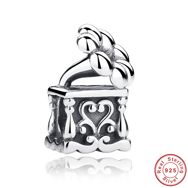 Strand Bracelet Charms Real 925 Sterling Silver Flower Phonograph Charms fit Pandora Bangle Bracelet Engagement Jewelry PCC001(China (Mainland))