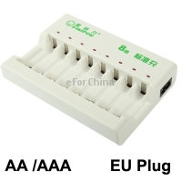 EU Plug Universal 8-slot Lithium Battery Standard Charger for AA / AAA Battery, Support 8pcs Batteries At the Same Time Charging(China (Mainland))