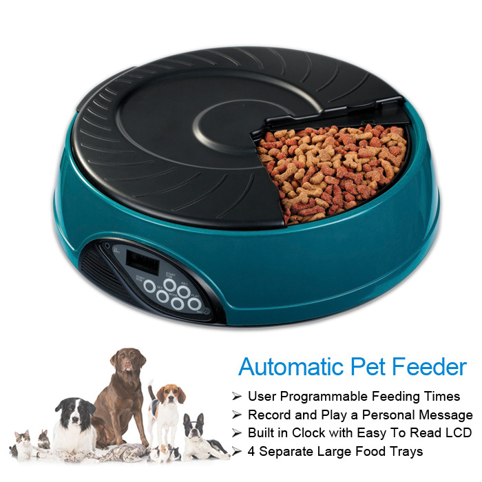 Newest Durable Battery Operated Auto Pet Dogs and Cats Feeding Bowl Digital Timer Feeder Customize Record Personal Message(China (Mainland))