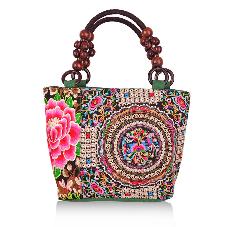2015 New arrival woman handmade Chinese style Personality Embroidery canvas Handbag casual square Ethnic flower Tote bag(China (Mainland))