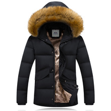 2015 New Arrival Men's Winter Jacket Solid Color Fur Hoodied Warm Coat Cotton Padded Down Jacket Coat For Men Casual Style Basic