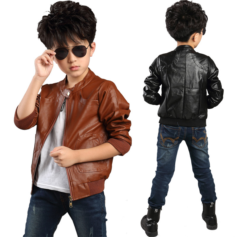 2015 children Autumn and spring boy jackets outerwear boys leather jacket high quality kids coat 2 colors fits 5T-10T(China (Mainland))