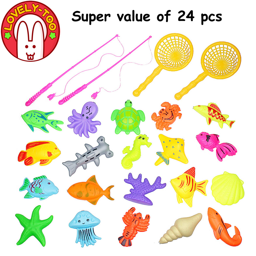 Lovely Too 24PCS Magnetic Fishing Game Plastic Toy Fish Rod Parent-Children Funny Toys Boys Outdoor Fun(China (Mainland))