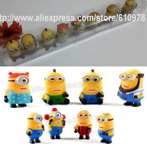 Resell Set with Display Plastic Box Minions Toy Despicable Me 2 PVC Figure Doll Night Market 8 pcs/Set Yellow Minion Gift(China (Mainland))