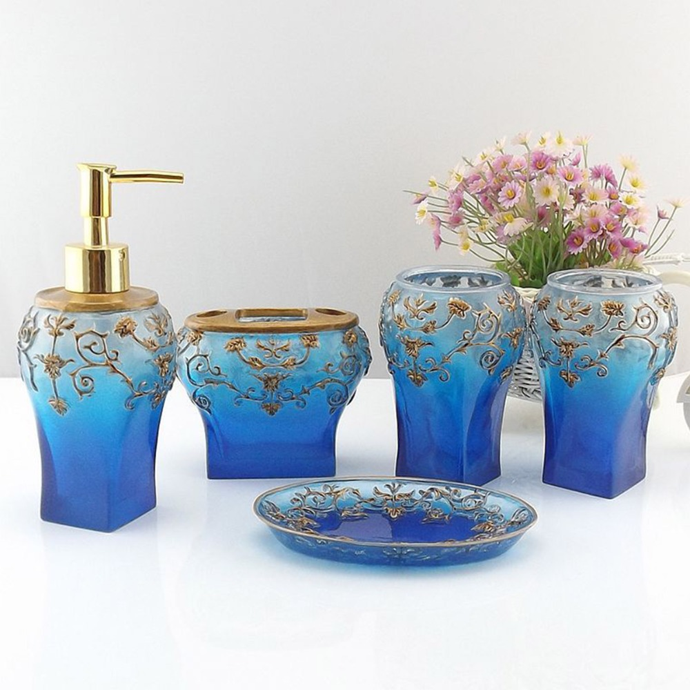 Buy dark blue france royal bathroom for Floral bath accessories