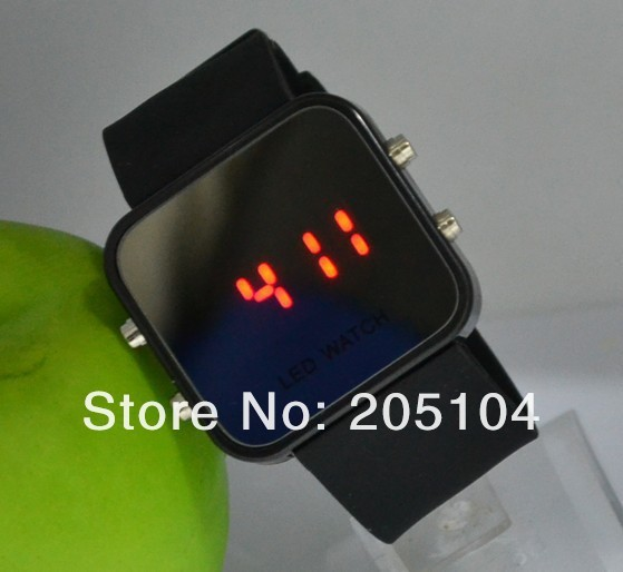 fashion High Quality Unisex Led Men Women 10 Candy-Colors Reflective Mirror Sports Casual work 2014 Digital Silicone Watch
