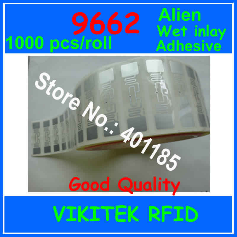 Alien authoried 9662 1000pcs per roll Wet inlay sticker UHF RFID 860-960MHZ Higgs3 EPC C1G2 ISO18000-6C can be used for RFID tag(China (Mainland))