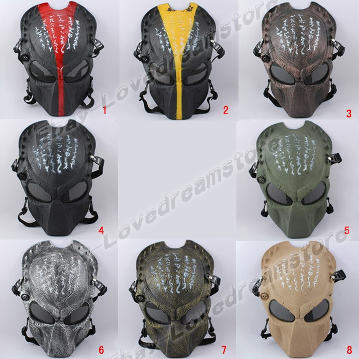 Japanese Animation Alien vs Predator Strike Protection Game 30cm Mesh PVC Mask Cosplay New Loose Pack