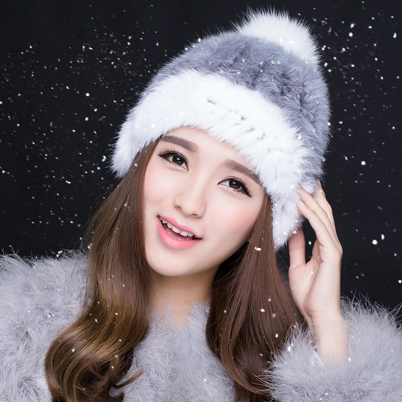 Real rabbit fur hats for winter women fur cap with top 2016 new sale high quality luxury female knitted(China (Mainland))