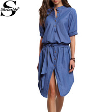 Sheinside Fashion Summer Style High Street Sexy Latest Newest Ladies Dresses Blue Half Sleeve Stand Collar Buttons Denim Dress(China (Mainland))