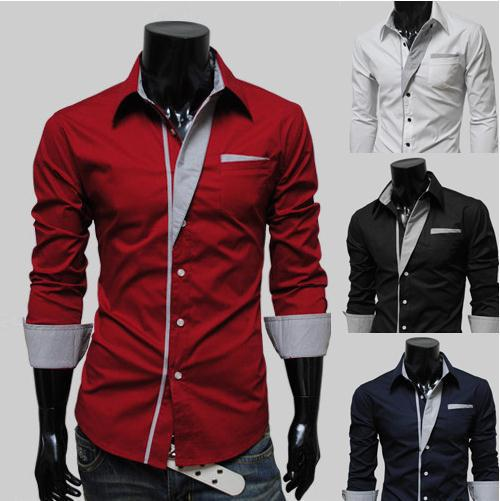 2012 New Mens Shirts Casual Slim Fit Stylish Hot Dress Color:White,Black,Red,Navy blue Size:M-L-XL-XXL A20 - Mike&Jerry fashion store