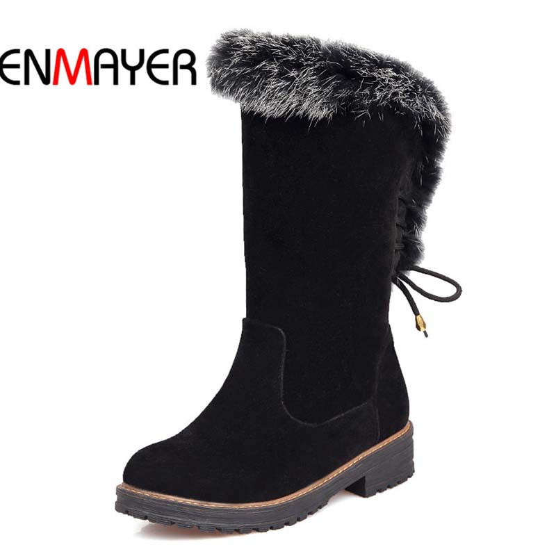 ENMAYER Shoes Round Toe Mid-Calf Snow Boots For Women Big Size Flock Med Winter Boots White, pink, silver, black Platform Boots <br>