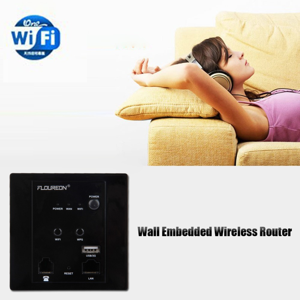 Brand New Floureon Wall Embedded Wireless Router 3G Wireless WIFI Computer USB Charge Socket Panel Black(China (Mainland))
