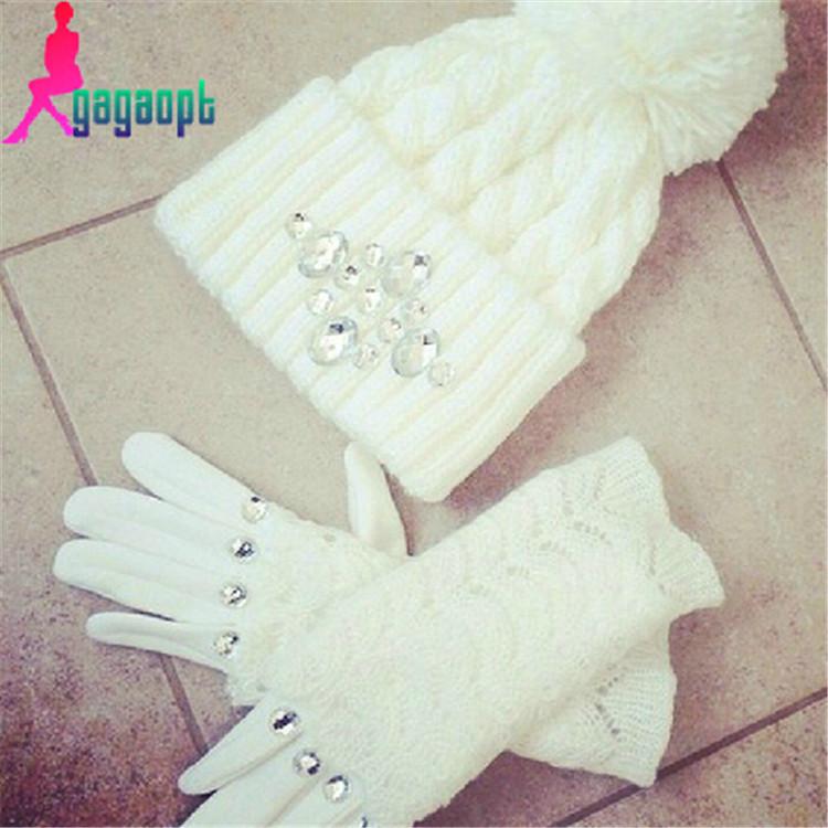 Modno 2015 made fashion Diamond gloves& Mittens and hats free shipping(China (Mainland))