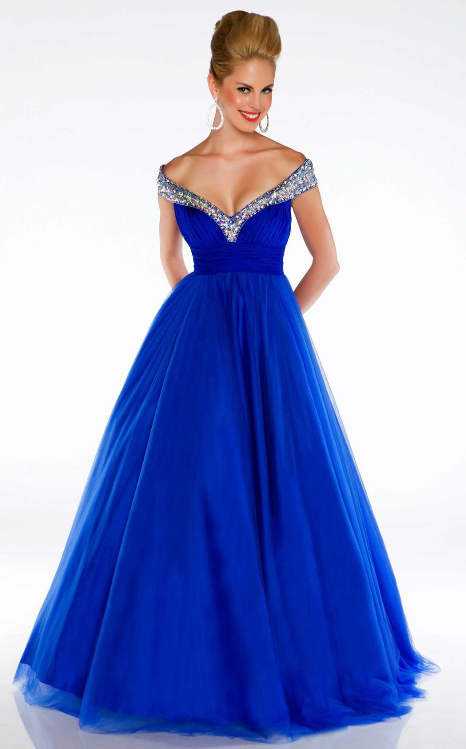 2016 detachable skirts quinceanera dresses vestidos de 15 anos cheap gowns Royal Blue v-neck Line Pageant Dresses - New York Brides store