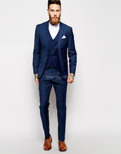 Tailor Made Navy Blue Men Suit (Jacket+Pants+Vest)