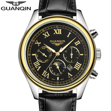 Buy relogio masculino 2017 New Watch Men GUANQIN Luxury Brand 24 Hours Date Luminous Genuine Leather Quartz Watch Mens Sport Watches for $38.46 in AliExpress store