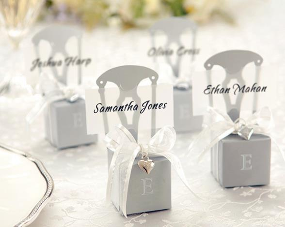 New Wedding Favor Ideas 2015 : 2015 NEW! Wedding favor monogram silver chair favor box Wholesale-in ...