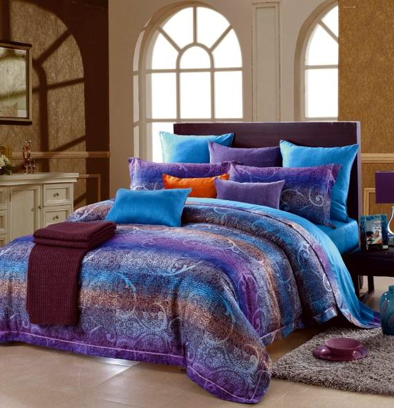 Blue Purple Paisley Stripe Egyptian Cotton Comforter