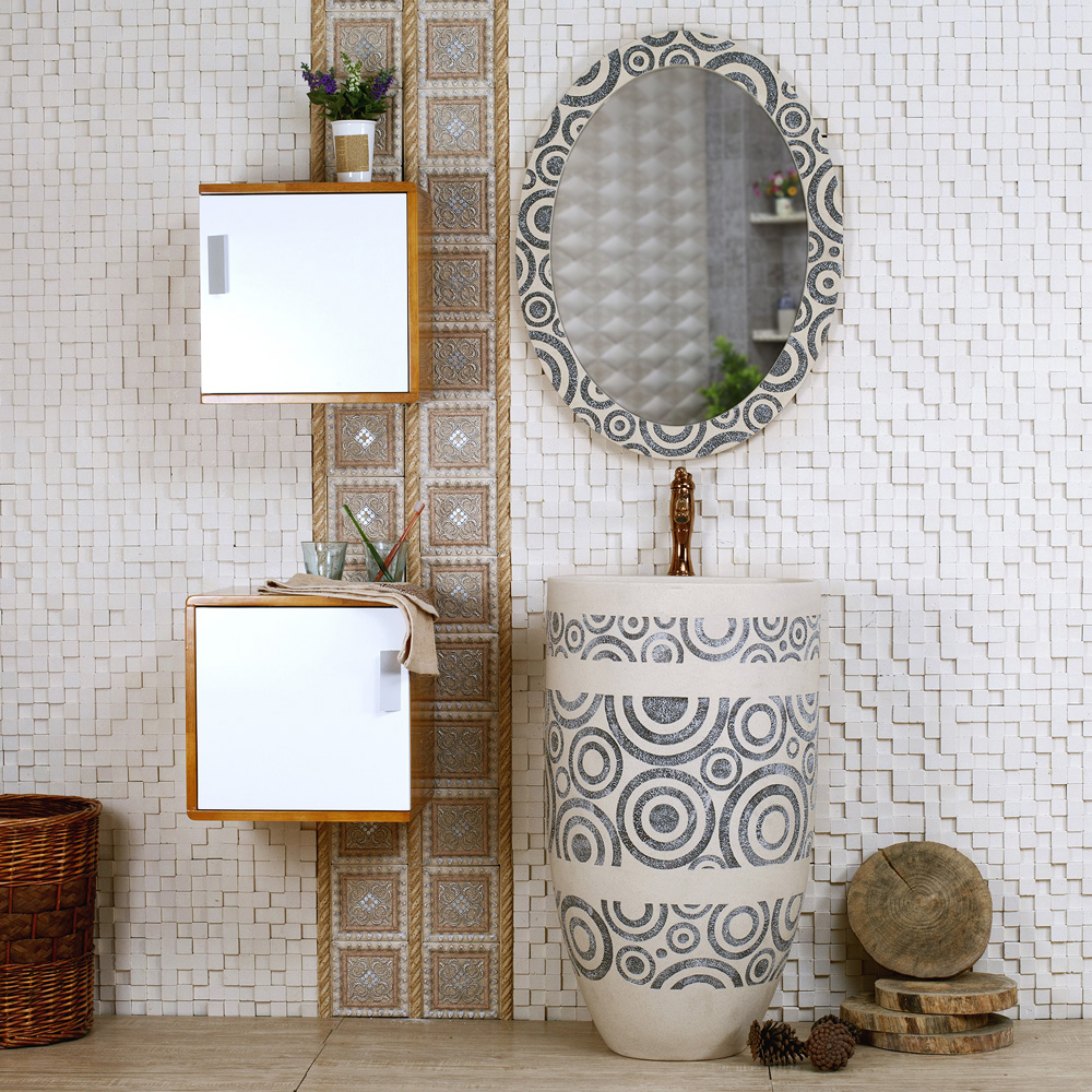 Meaka / bath combination Ming Jia shipping / Artificial Stone Wall Art wash basin European oak bathroom cabinet(China (Mainland))