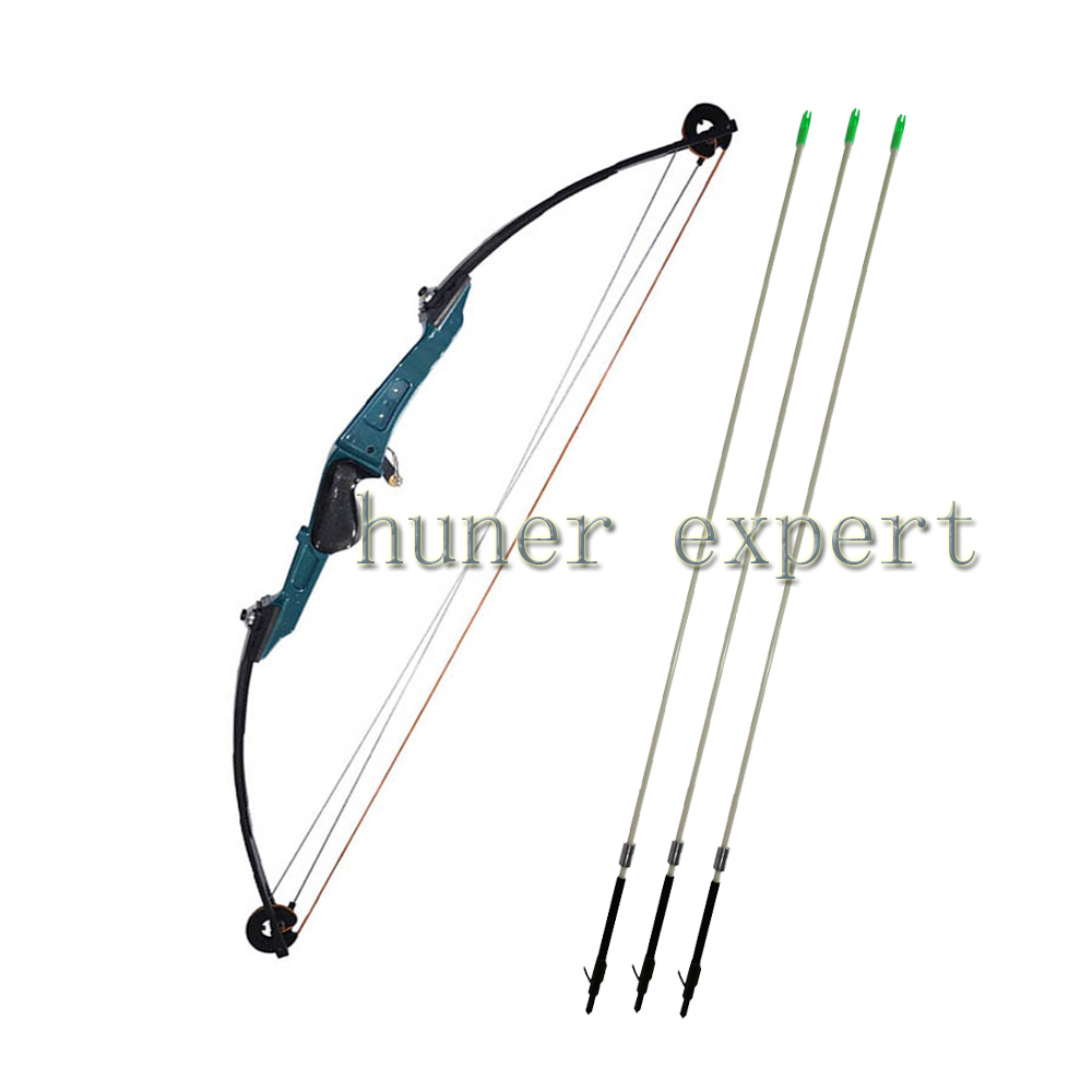 One archery targetting compound bow 51lbs RH and 3pcs bow fishing arrows mix carbon shafts bowfishing