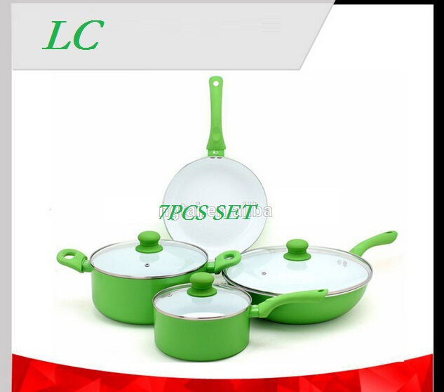 FREE SHIPPING 7pcs COOKING POTS green COOKWARE SET pan and pot nonstick CASSEROLE+ wok+frypan+ saucepan ceramic coating(China (Mainland))
