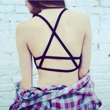 1 Pcs Women Girl Sexy Padded Bra Crop Tops Sport Vest Cut Out Shirt Summer Beach Tank Tops QLM(China (Mainland))