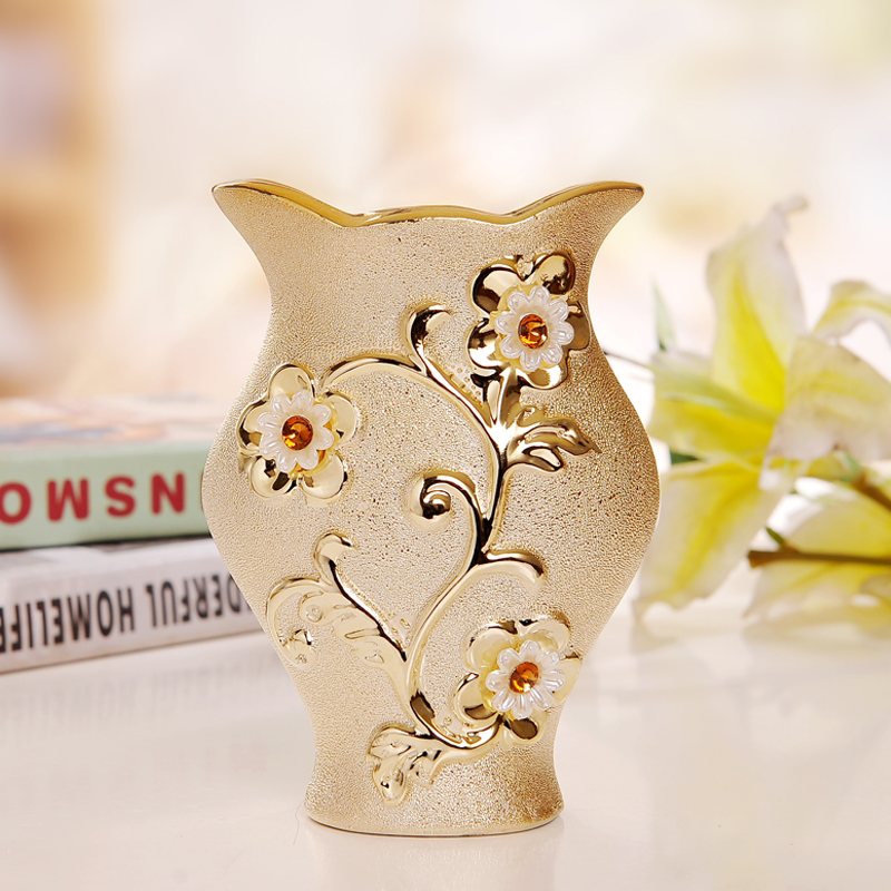 Luxury Morden Gold-plated Ceramic Vase Home Decor Creative Design Porcelain Decorative Flower Vase For Wedding Gift(China (Mainland))