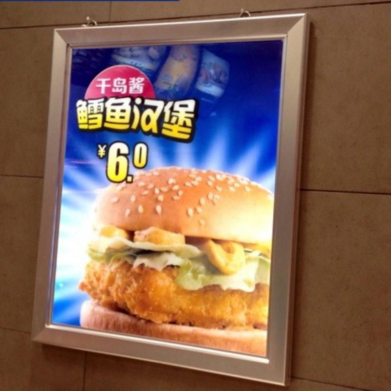 SILVER FRAME SINGLE SIDE LED CLIP FRAME EDGE LIT MENU BOARDS FOR FAST FOOD STORE/RESTAURANT(China (Mainland))