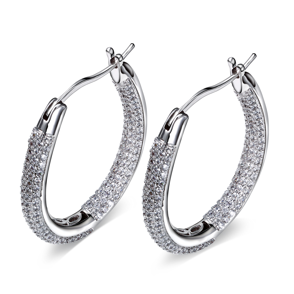 Luxury fashion Hoop Earring crystal earrings for girl gold plated w/ AAA CZ wedding party earring body jewerly Free shipment(China (Mainland))