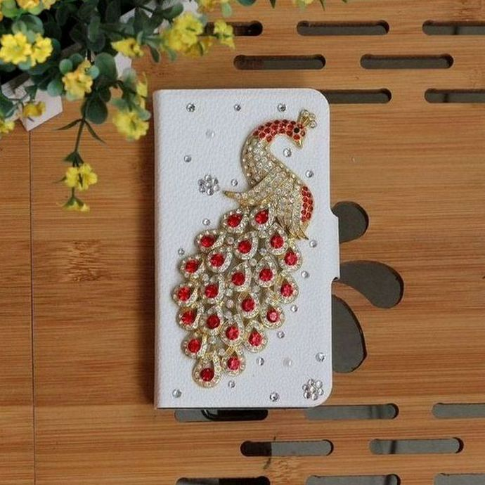 Bling DIY Red Diamond Peacock Handmade PU Leather Flip Case Cover For Samsung OMNIA M S7530 S759(China (Mainland))
