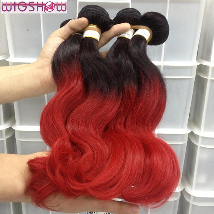 Hot Sale Two Tone Ombre 1B Red Brazilian Hair Extensions Cheap Human Hair Bundles 100g Ombre Brazilian Virgin Hair Body Wave<br><br>Aliexpress