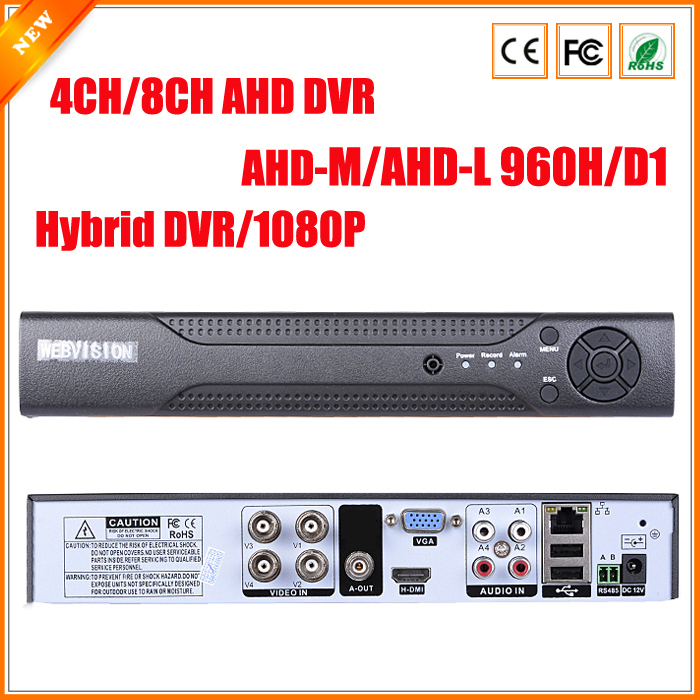 AHDM DVR 4Channel 8Channel AHDNH CCTV AHD DVR Hybrid DVR/1080P NVR 4in1 Video Recorder For AHD Camera IP Camera Analog Camera(China (Mainland))