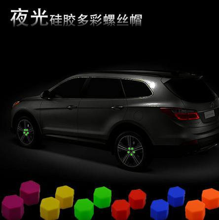 Hot 20pcs/lot Car Styling Luminous Wheel Screw Cover Sillicone Decorations Antirust Tyres Screws Caps Nuts Lugs Protective Caps(China (Mainland))