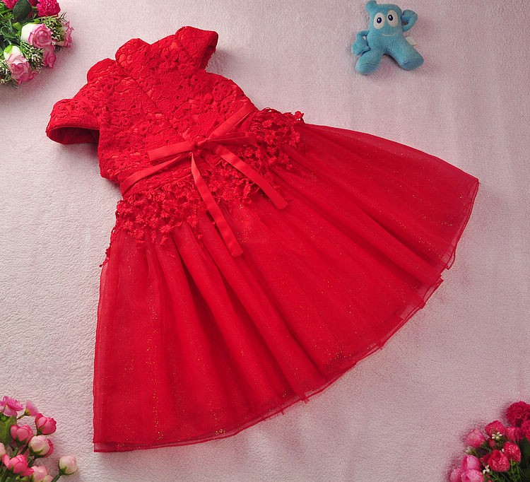 Скидки на Бесплатная доставка Новый год Красный Китайский Стиль костюм младенца Малыша ребенка Девушка Cheongsam Платье свадебное Бальное платье Принцессы девушки вуаль платье