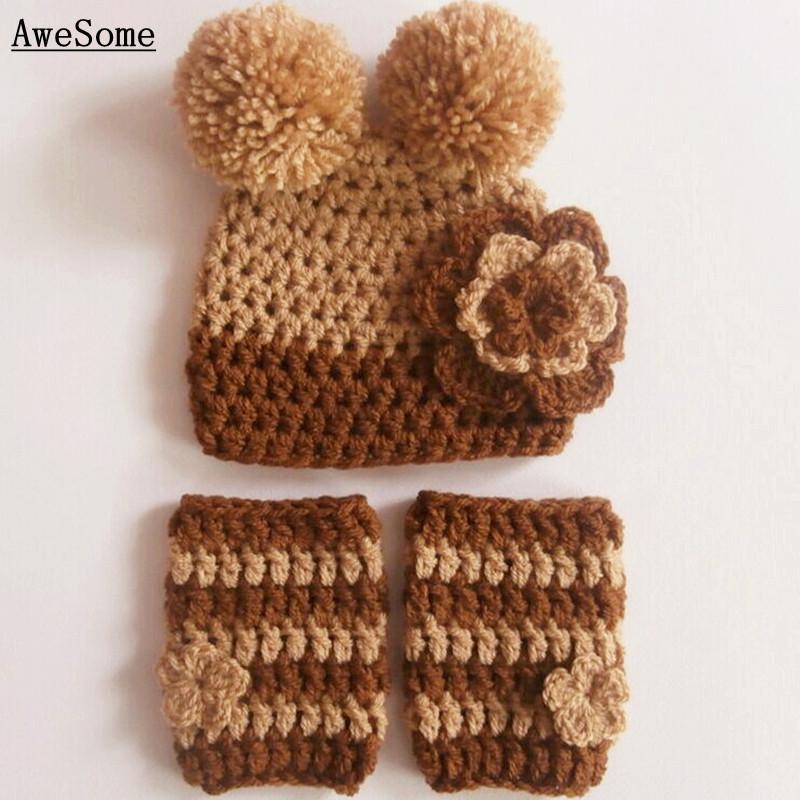 Brown Teddy Bear Hat and Leg Warmers,Handmade Knit Crochet Baby Boy Girl Cartoon Animal Costume,Infant Toddler Photography Prop(China (Mainland))