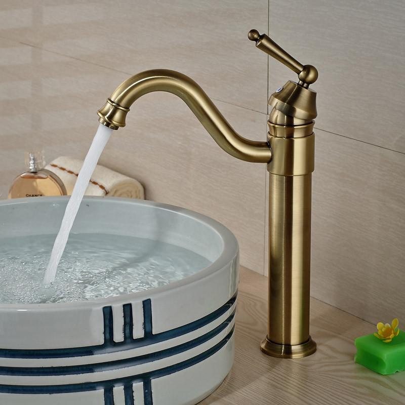 Купить Одно Отверстие Античная Бронзовая Ванной Бассейна Кран Полированная Латунь Кран Горячей Холодной Воды Смесителя