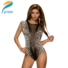 2015 Leopard Printed Mesh Insert Sexy Club Top Swimsuit One Piece Sexy Leopard Bodysuit Leotard Vest Top HW0179(China (Mainland))