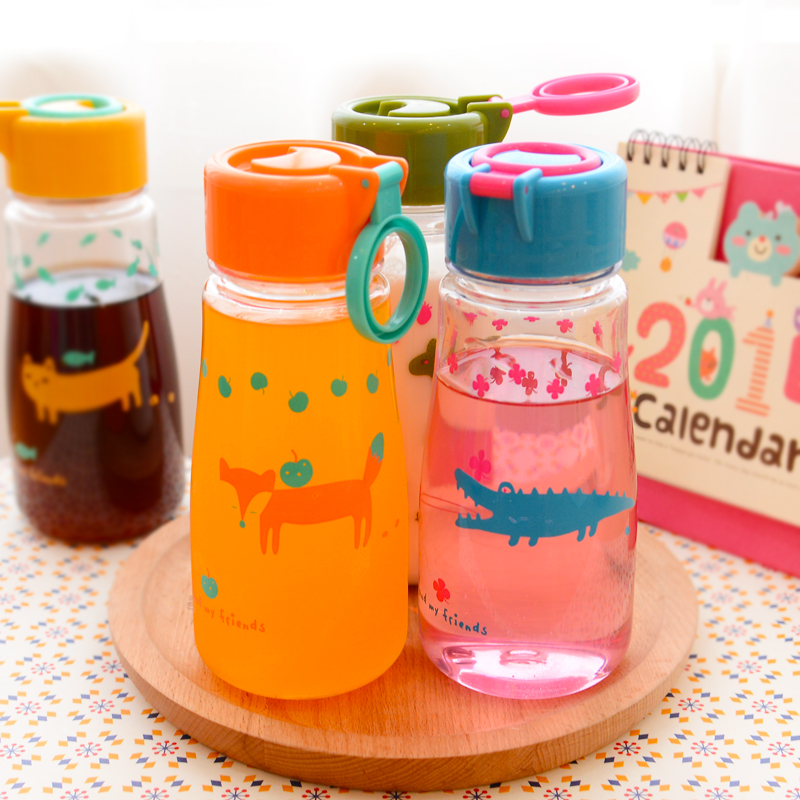 Birthday gift children Love cover cup Boys girls sports bottle Plastic water lemon tea cups - CANDY ZHONG'S STORE 2014 store