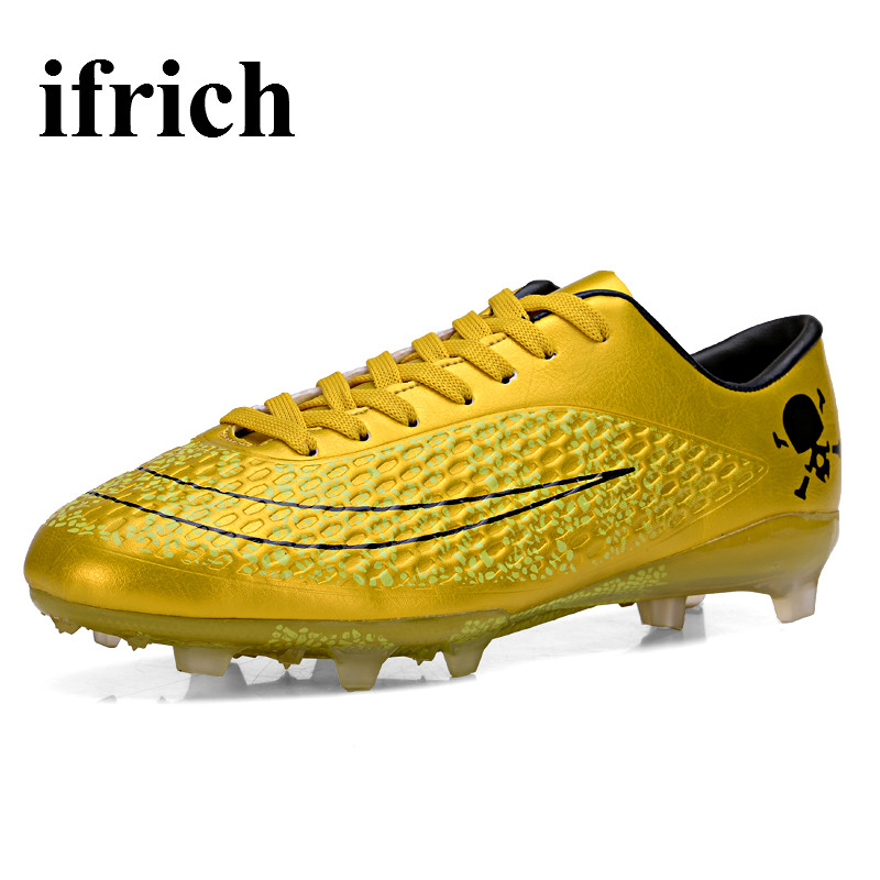Ifrich Soft Ground Soccer Shoes Men Kids Long Spikes Outdoor Football Shoes Gold/Orange Football Cleats Cheap Children Cleats(China (Mainland))