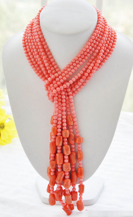 ddh002448 4pcs 6mm round 15mm cylindrical pink coral necklace 50inch 28% Discount<br><br>Aliexpress
