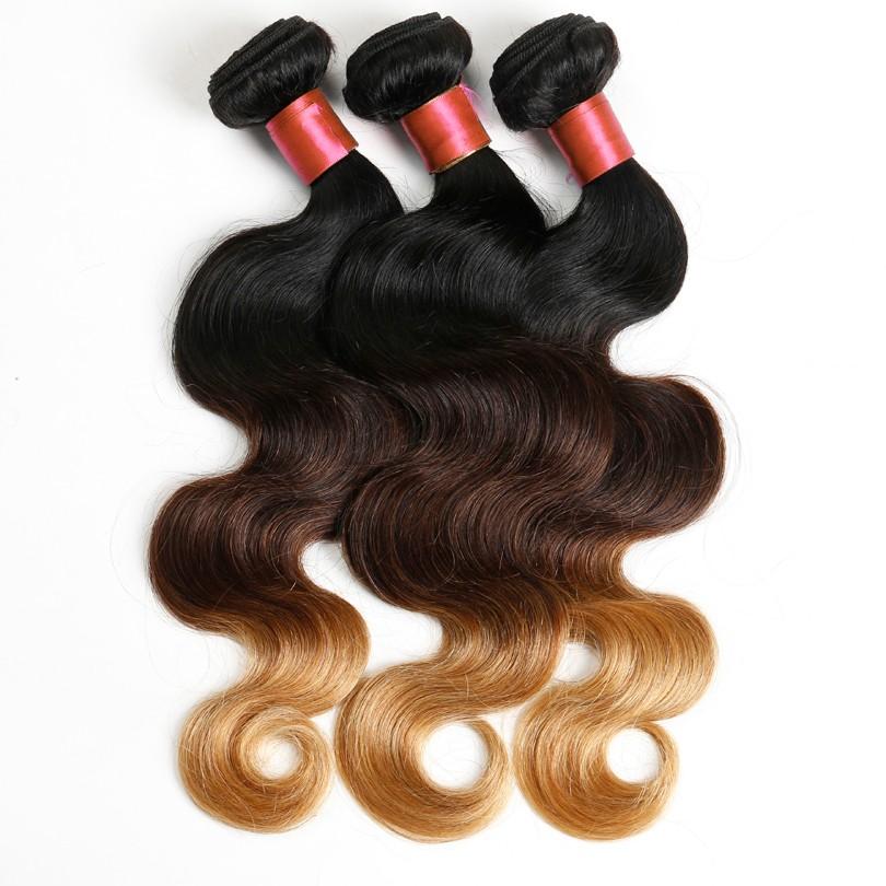 Grace Hair Cheap 8a Three Tone Ombre Brazilian Body Wave Virgin Hair 3 Bundles Brown Weave Color 1b 4 27 Ombre Brazilian Hair