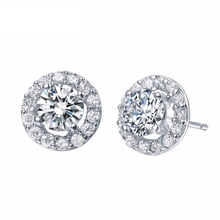 Certified 1.0CT Real 18K Solid White Gold Moissanite Engagement Stud Earrings For Women Round Brilliant  VVS G-H Free Shipping(China (Mainland))