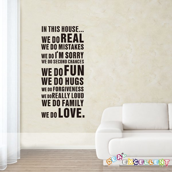 NEW ARRIVAL, FAMILY RULES 55CM*122CM/piece, vinyl quote wall decal, text wall sticker, best for home decoration