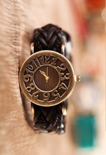 2015 Vintage punk Hollow Number Woven leather bracelet Watch women ladies fashion quartz wrist watch kow053