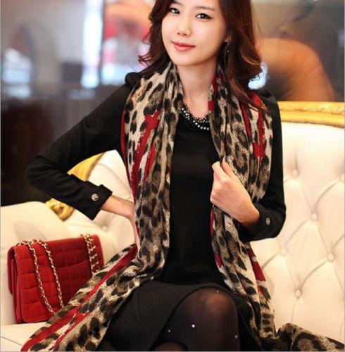 1Piece Red  Leopard Stylish Long Soft Silk Chiffon Scarf Wrap Shawl Scarves For Woman Lady Girls(China (Mainland))